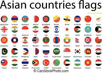 ázsiai, országok, zászlók