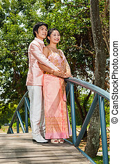 ázsiai, thai ember, lakodalmi, alatt, thai ember, esküvő alkalmaz
