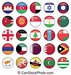 ázsiai, zászlók, kerek, gombok