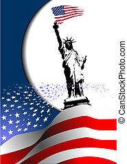 –, 联合起来, image., 鹰, 美国人, 第4, 国家, 旗, 矢量, america., 七月, 天, 独立