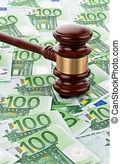 € money and gavel - bills of the european union and a...
