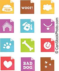 –, vettore, cane, icone