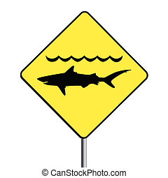 'Warning, sharks' sign. - Vector of a 'warning,...