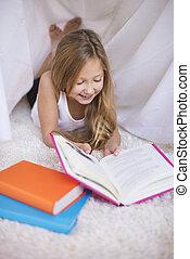 âge élémentaire, lecture fille, a, livre