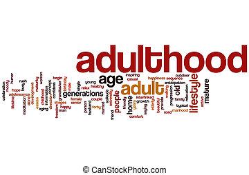 âge adulte, mot, nuage