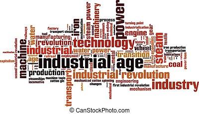 âge, industriel, mot, nuage
