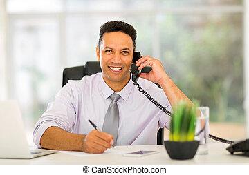 âge, mi, appel téléphonique, confection, homme affaires