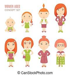 âge, mignon, femmes, ensemble, joli, icônes, plat