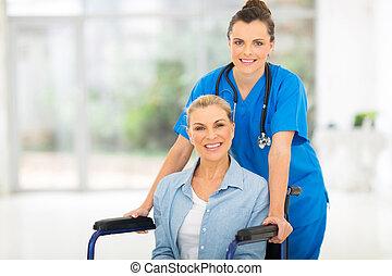 âge, patient, mi, femme, infirmière