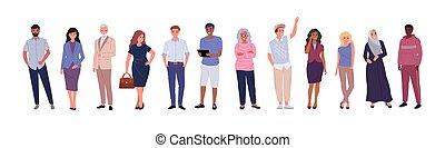 âges, groupe, différent, gens