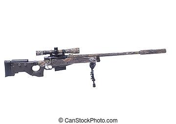 âmbito, camuflado, franco-atirador, rifle