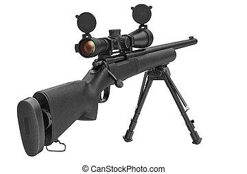 âmbito, rifle, óptico, franco-atirador