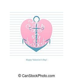 âncora, com, inscrição, tu, é, em, meu, heart., feliz, dia dos namorados, vindima, lettering, fundo, illustration.