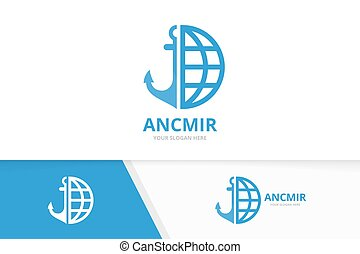 âncora, combination., símbolo, logotype, ou, planeta, marinha, vetorial, desenho, logotipo, template., mundo, icon., original, marinho, globo