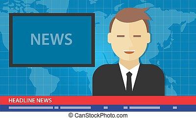 âncora, homem, notícia, manchete, quebrar, tv