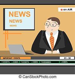 âncora notícia, homens, manchete, tv