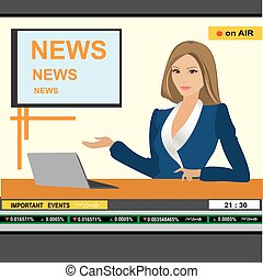 âncora notícia, mulher, cabeçalho, tv