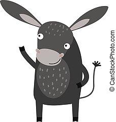 âne, caractère, gris, vector., ferme, dessin animé, animal, ...