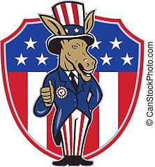 âne, haut, démocrate, drapeau, pouces, mascotte