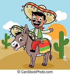 âne, mexicain, désert, homme