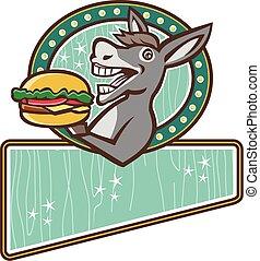 âne, servir, hamburger, retro, ovale, rectangle, mascotte