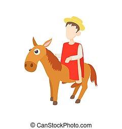 âne, style, icône, équitation, dessin animé, homme