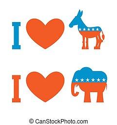 âne, uni, amour, usa., coeur, democrat., affiche, symbole, states., politique, élections, america., republican., patriotique, emblème, elephant., débat, aimer