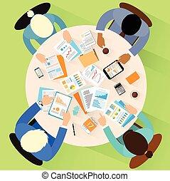 ângulo, escritório, negócio, sentando, topo, pessoas, local trabalho, acima, escrivaninha, vista