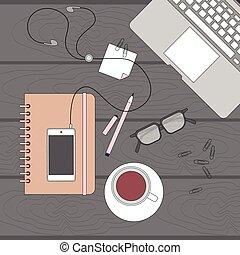ângulo, escritório negócio, topo, local trabalho, acima, escrivaninha, laptop, vista