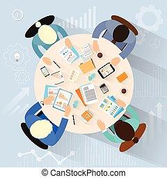 ângulo, escritório, pessoas negócio, topo, trabalho, vetorial, local trabalho, acima, escrivaninha, sentando, vista