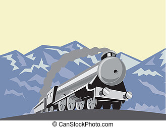 ângulo, locomotiva, trem, retro, vapor, baixo