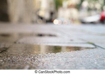 ângulo, pavimento, tallinn, molhados, tiro, baixo