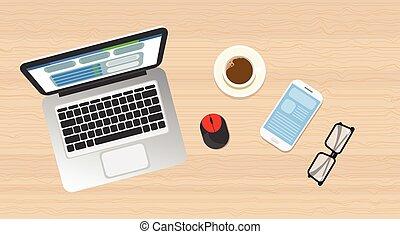 ângulo, topo madeira, laptop, telefone, local trabalho,...