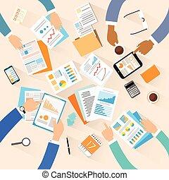 ângulo, trabalhando, negócio, sentando, topo, pessoas, criativo, local trabalho, acima, equipe, escrivaninha, escritório, vista