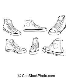 ângulos, vário, sneakers, esboço