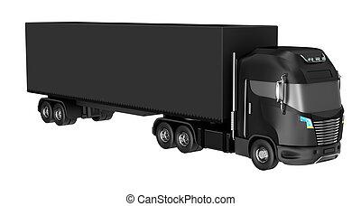 äga, behållare, isolerat, lastbil, white., design, min, svart