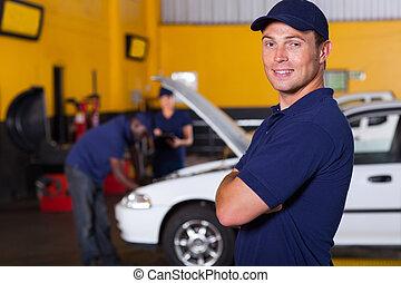 ägare, bil service, affär