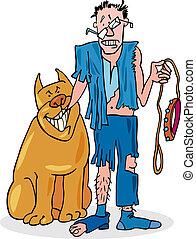 ägare, dålig, hans, hund, ramponerat