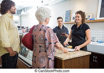 ägare, kolleger, disk, cafe, kunder