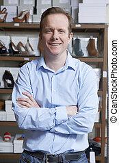 ägare, manlig, sko lagret