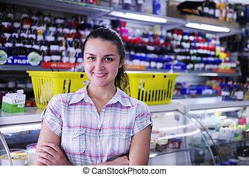 ägare, skrivpapper, butik, lycklig
