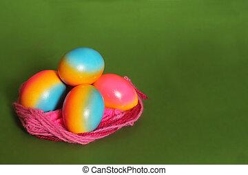 ägg, bygga bo, färgrik
