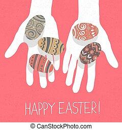 """ägg, easter"""", greetings., """"happy, räcker, påsk"""