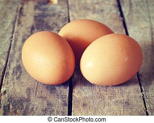 ägg, gammal, årgång, retro designa