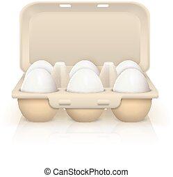 ägg, i boxas, illustration