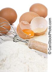 ägg, och, mjöl