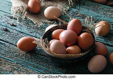 ägg, på, ved