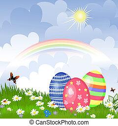 ägg, påsk, äng