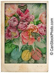 Ägg, stil, vykort, Årgång, Blomstrar, påsk