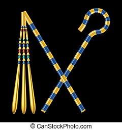 ägypten, pharaos, gekreuzt, scepters